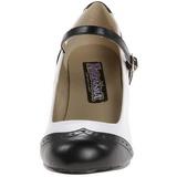 Preto Branco 7,5 cm retro vintage FLAPPER-25 Sapatos Scarpin Femininos