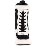 Preto Branco 9,5 cm REFEREE-125 Botinha Cano Curto Mulher