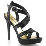Preto Brilho 12 cm LUMINA-21 sandálias para noite de gala