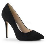 Preto Camurca 13 cm AMUSE-20 Sapatos Scarpin Salto Agulha