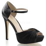 Preto Cetim 12 cm LUMINA-48 sapato scarpin para noite de gala