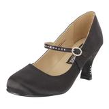 Preto Cetim 8 cm FLAPPER-20 Sapatos Scarpin Femininos