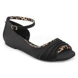 Preto Cetim ANNA-03 numeros grandes sapatos bailarina