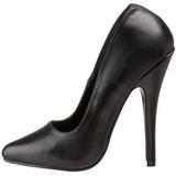 Preto Couro 15 cm DOMINA-420 Sapatos Scarpin Stiletto Salto Agulha