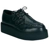 Preto Couro 5 cm CREEPER-402 Creepers Sapatos Homem Plataforma