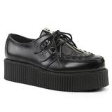 Preto Couro 5 cm CREEPER-440 Creepers Sapatos Homem Plataforma