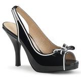 Preto Envernizado 11,5 cm PINUP-10 numeros grandes sandálias mulher