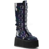 Preto Envernizado 9 cm DAMNED-318 plataforma botas mulher com fivelas