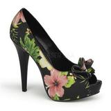 Preto Flores 13 cm LOLITA-11 calçados femininos com salto alto