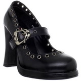 Preto Fosco 10,5 cm CRYPTO-05 Goticas Sapatos Scarpin Plataforma