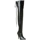 Preto Fosco 13 cm SEDUCE-3063 bota acima do joelho longas