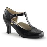 Preto Fosco 7,5 cm retro vintage FLAPPER-26 Sapatos Scarpin Femininos