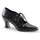 Preto Fosco 7 cm retro vintage VICTORIAN-03 Sapatos Scarpin Femininos