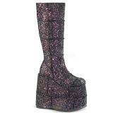 Preto Glitter 18 cm STACK-301G botas demonia - botas de cyberpunk unisex