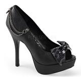 Preto Imitação Couro 13,5 cm PIXIE-16 Goticas Sapatos Scarpin