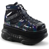 Preto Imitacao Couro 7,5 cm NEPTUNE-100 Goticas Sapatos Homem Plataforma