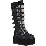 Preto Imitação Couro 9 cm DAMNED-318 plataforma botas mulher com fivelas