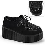 Preto Imitação Couro CREEPER-216 sapatos creepers de mulher rockabilly