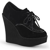 Preto Imitação Couro CREEPER-302 sapatos creepers cunha altos
