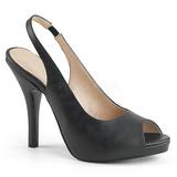 Preto Imitação couro 12,5 cm EVE-04 numeros grandes sandálias mulher