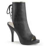 Preto Imitação couro 12,5 cm EVE-102 numeros grandes botinha mulher