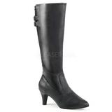 Preto Imitação couro 7,5 cm DIVINE-2018 numeros grandes botas mulher