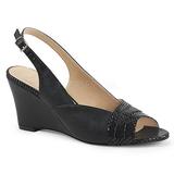 Preto Imitação couro 7,5 cm KIMBERLY-01SP numeros grandes sandálias mulher