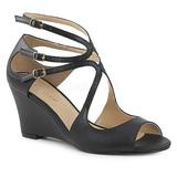 Preto Imitação couro 7,5 cm KIMBERLY-04 numeros grandes sandálias mulher