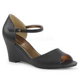 Preto Imitação couro 7,5 cm KIMBERLY-05 numeros grandes sandálias mulher