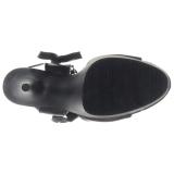 Preto Imitação de couro 15 cm DELIGHT-600-14 sandálias pleaser com plataforma