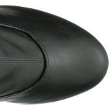 Preto Imitação de couro 15 cm KISS-3000 Plataforma botas alta até a coxa