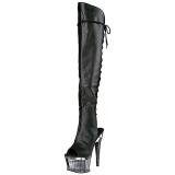 Preto Imitação de couro 16,5 cm ILLUSION-3019 bota acima do joelho