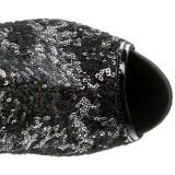 Preto Lantejoulas 15 cm PLEASER BLONDIE-R-3011 bota plataforma acima do joelho