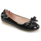 Preto OLIVE-03 sapatos de bailarinas com gravata borboleta