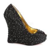 Preto Pedra Cristal 13,5 cm ISABELLE-18 Sapato Scarpin Cunha Alto