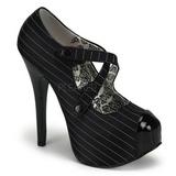 Preto Riscas 14,5 cm Burlesque TEEZE-23 calçados femininos com salto alto