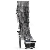Preto Strass 16,5 cm ILLUSION-2017RSF botas com franjas salto alto