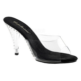 Preto Transparente 11 cm CARESS-401LS Tamancos Strass Altos