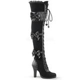 Preto Veludo 9,5 cm GLAM-300 bota acima do joelho