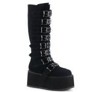 Preto Veludo 9 cm DAMNED-318 plataforma botas mulher com fivelas