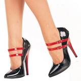 Preto Vermelho 15 cm DOMINA-442 calçados femininos com salto alto