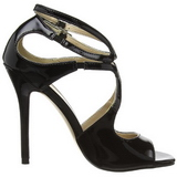 Preto Verniz 13 cm AMUSE-15 sandálias para noite de gala