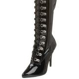 Preto Verniz 13 cm SEDUCE-3024 bota acima do joelho