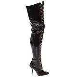 Preto Verniz 13 cm SEDUCE-4026 bota acima do joelho