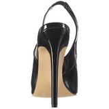 Preto Verniz 13 cm SEXY-08 Sapatos Scarpin Sling Back
