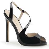 Preto Verniz 13 cm SEXY-10 Sapatos Scarpin Salto Agulha