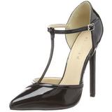 Preto Verniz 13 cm SEXY-27 Sapatos Scarpin Salto Agulha