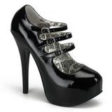 Preto Verniz 14,5 cm Burlesque TEEZE-05 calçados femininos com salto alto