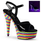 Preto Verniz 15 cm DELIGHT-609RBS Sandálias Plataforma Neon