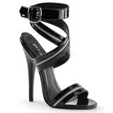 Preto Verniz 15 cm DOMINA-119 High Heels Sandália Salto Alto